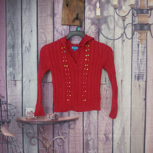 Girls M(7/8) TCP red hooded cable knit sweater AB5